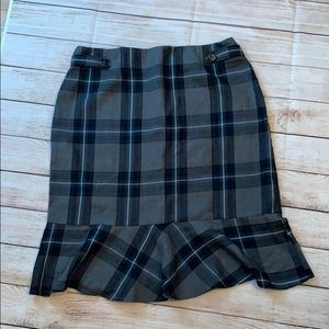East 5th gray plaid skirt with ruffle size 12